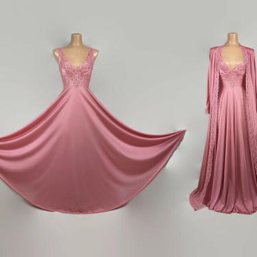 VINTAGE 70s Rare Rose Pink Olga Designer Collection Peignoir Set | Gold Label #9772 Grand Sweep Nightgown and Robe | Wedding Bridal Lingerie by IntrigueU4Ever