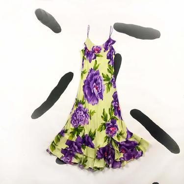 90s Lime Green and Purple Floral Slip Dress / Ruffle / Bias Cut / Rayon / Large / Roses / Rose Print / Romantic / Spaghetti Strap / L / y2k by shoptrashdotnet