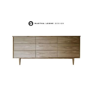 New Hand-Crafted Walnut 9-Drawer Dresser with custom finishes available by MarthaLeoneDesign