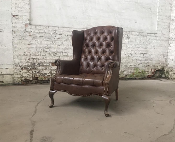 Vintage Tufted Brown Vinyl Wingback Chair Cabriole Legs Club Chair by NorthGroveAntiques