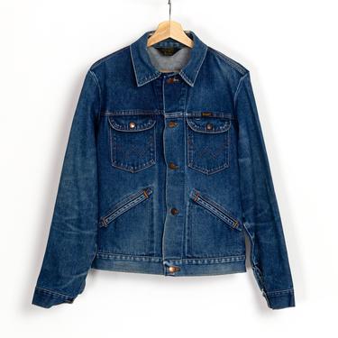 70s Wrangler No-Fault Jean Jacket - Small to Medium | Vintage Unisex Dark Wash Denim Trucker Coat by FlyingAppleVintage