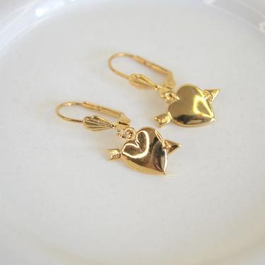 gold cupid heart earring, gold heart earring, dainty heart earring, gold dangle heart, dainty gold earring, heart with arrow earring, gift by melangeblancdesigns