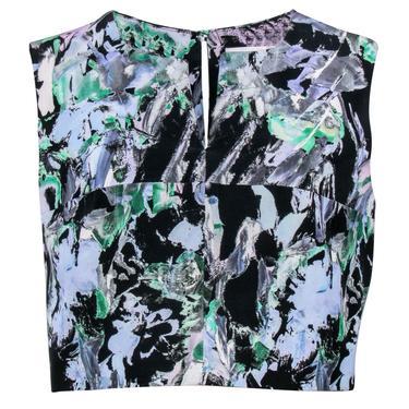 Milly - Black, Blue & Green Floral Print Cropped Tank Sz S