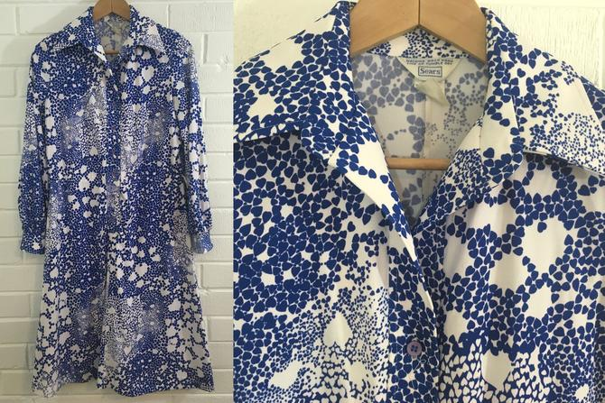 Vintage Sears Hearts Shirt Dress A-Line Blue Cobalt White Love Heart Print Long Sleeve Women's Large L 14 XL Plus Volup MCM Mod Boho Hipster by CheckEngineVintage