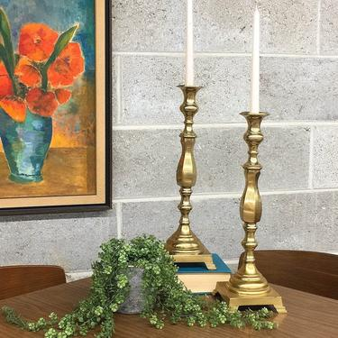 Vintage Candlestick Holders Retro 1980s Gold Brass Metal + 17 Inch Tall Stands + Set of 2 Matching + Candle Holders + Home Decor + Lighting by RetrospectVintage215