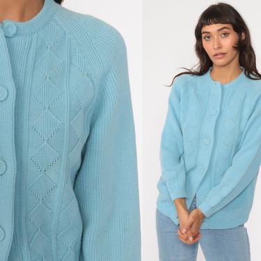70s Baby Blue Cardigan Sweater Raglan Grandma Open Weave Pointelle Sweater Pastel Sweater Vintage Acrylic Knit 1970s Medium by ShopExile