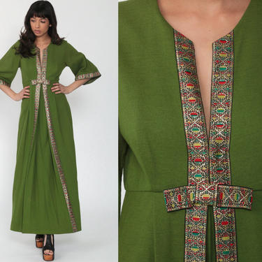 70s Party Dress Wool Hostess Dress Maxi Green Hippie Party Vintage 1970s Bohemian Empire Waist Formal 1/2 Sleeve Boho Dress Small by ShopExile