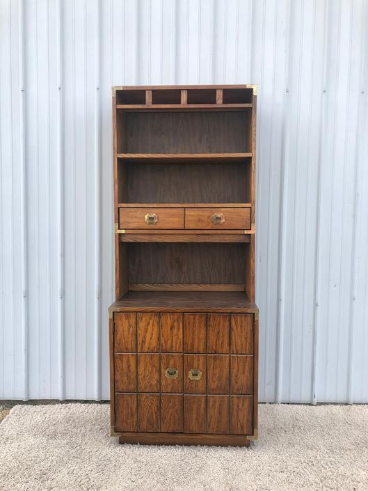 Mid Century Campaign Style Shelves with Cabinet