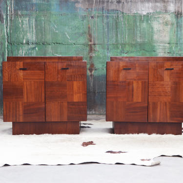 Paul Evans Style Brutalist MCM Mid Century Post Modern Tessellated Night stands End tables Percival Lafer Lane Paul Evans Style by CatchMyDriftVintage