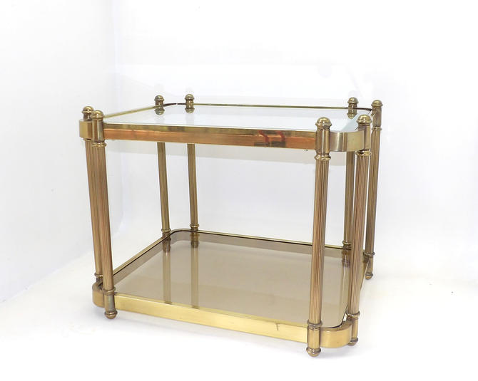 1960's Hollywood Regency Mid Century Modern Minimalist Brass 2 Tier Glass Side Table End Table Nightstand Gold Metal Base Office Business by MakingMidCenturyMod