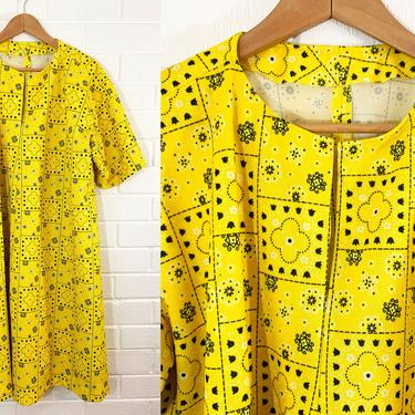 Vintage Floral Tent Dress 60s Mod Black Yellow 1960s Mini Trapeze Oversized Twiggy Plus 2X 3X 4X Curvy Volup Tented Swing Flower Patchwork by CheckEngineVintage