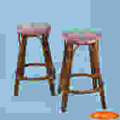 Pair of Small Rattan Stools