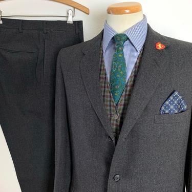 Vintage 1950s 100% Wool TWEED 2pc Suit ~ 40 R ~ jacket / blazer / sport coat / pants ~ Preppy / Ivy Style / Trad by SparrowsAndWolves