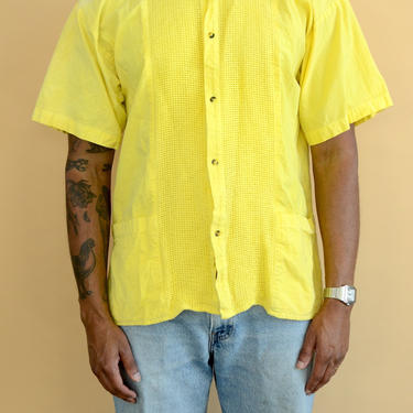 Vintage Yellow Turmeric Hand Dyed Banded Mandarin Collar Button Down Shirt Large Medium by MAWSUPPLY