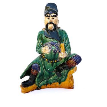 Antique Large Polychrome Glazed Ceramic Asian Immortal Statue Taoist Deity Scholar Cao Guojiu by ELECTRICmarigold