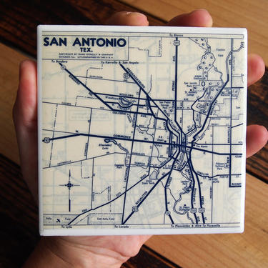 1953 San Antonio Texas Handmade Repurposed Vintage Map Coaster - Ceramic Tile - Repurposed 1950s Rand McNally Atlas - Actual Map Used by allmappedout