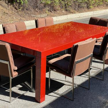 Mid-century Baughman Red Lacquer Dining Table by HollywoodHillsModern