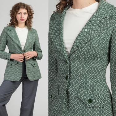 70s Green Floral Blazer - Small | Vintage Button Up Notched Collar Jacket by FlyingAppleVintage