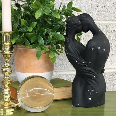 Vintage Statue Retro 1990s Boris + Embrace + Contemporary + Man and Woman + Kissing + Love + Black Ceramic Frame + Home and Table Decor by RetrospectVintage215