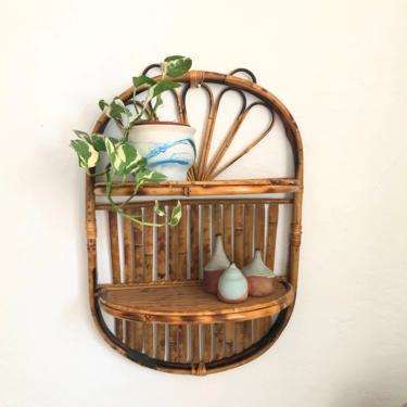Vintage Oval Bamboo Shelf by SergeantSailor