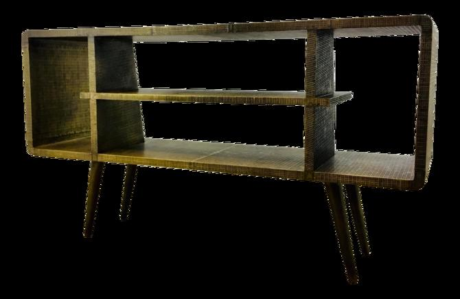 Bungalow 5 Mid-Century Modern Inspired Antique Brass Metal Foil Verra Console Table