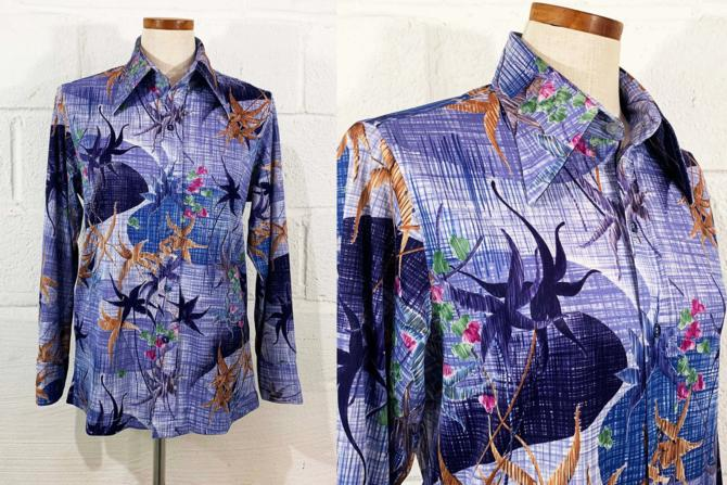 Vintage Abstract Floral Button Front Shirt Blue White Green 1970s 70s Long Sleeve Small Medium by CheckEngineVintage