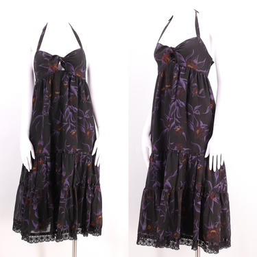 70s YOUNG EDWARDIAN peasant halter dress / vintage 1970s Arpeja black floral print summer baby doll sz M by ritualvintage