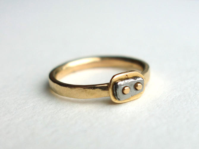 One of a Kind Handmade 14k Recycled Gold and Iron Alternative Engagement Ring by RachelPfefferDesigns