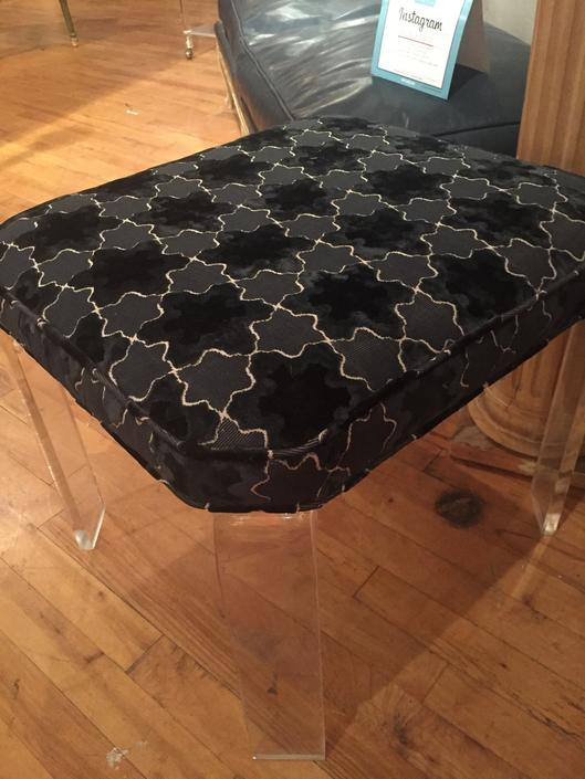 Mid Century Lucite upholstered square Bench