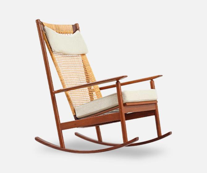 Hans Olsen Teak & Cane Rocking Chair for Juul Kristensen
