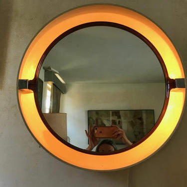 MID CENTURY MODERN 1970's Round Wall Mirror with Light #LosAngeles by HouseCandyLA