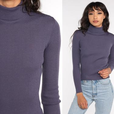Knit Turtleneck Top 70s Purple Wool Blend Shirt Long Sleeve Sweater High Neck Plain Simple Top 1970s Tight Ribbed Vintage Small Medium by ShopExile