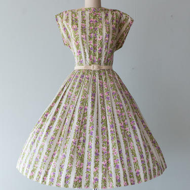 Vintage 1950s Dress - 50s Toni Todd Floral Print Striped Cotton Day Dress With Full Skirt Size Large // Waist 32 by xtabayvintage