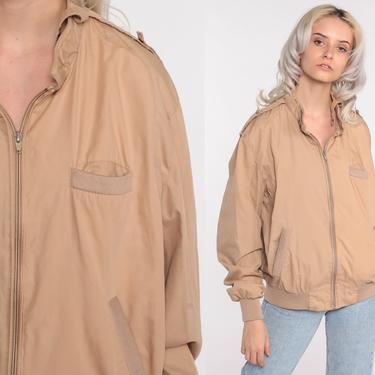 Tan MEMBERS ONLY Jacket 80s Zip Up Windbreaker Bomber Cafe Racer Hipster Shell Light Vintage 1980s Lightweight Medium Large by ShopExile