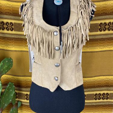 Vintage 1970s Pioneer Wear Suede Fringe Vest Women's Size XS-Small by DesertCactusVintage