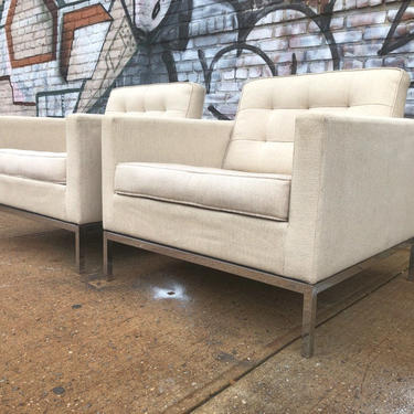 Pair of Original mid century Florence Knoll low club lounge chairs original knoll upholstery matching white by symmetryvintage
