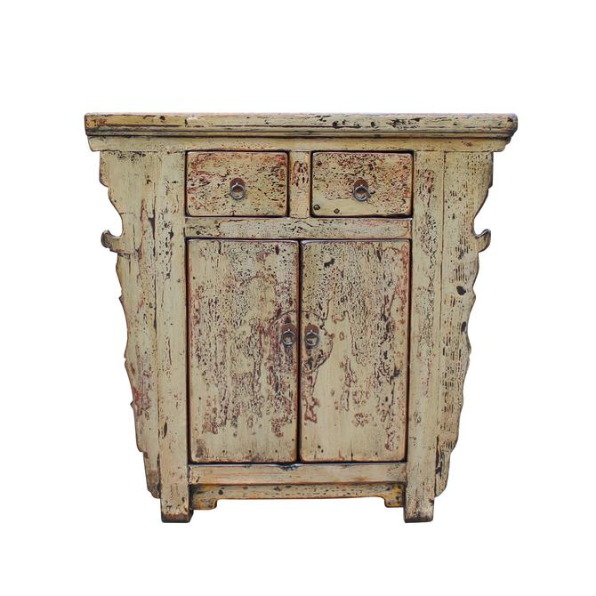 Distressed Light Mustard Green Lacquer Mid Size Credenza Table Cabinet cs5334S