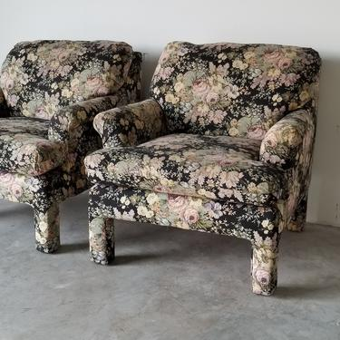 1980s Vintage Hollywood Regency Parsons Style Karpen Upholstered Club Chairs - a Pair. by MIAMIVINTAGEDECOR