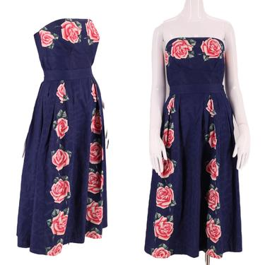 """50s floral cotton day dress outfit 26"""" / vintage early 1950s painted chintz 2 pc set bustier and skirt post war mid century S by ritualvintage"""