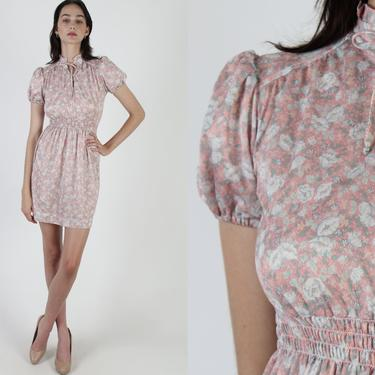 Vintage 70s Garden Floral Dress / Sheer Pink Bow Tie Neckline / Stretchy Smocked Waist / Simple Lightweight Poly Day Party Mini Dress by americanarchive