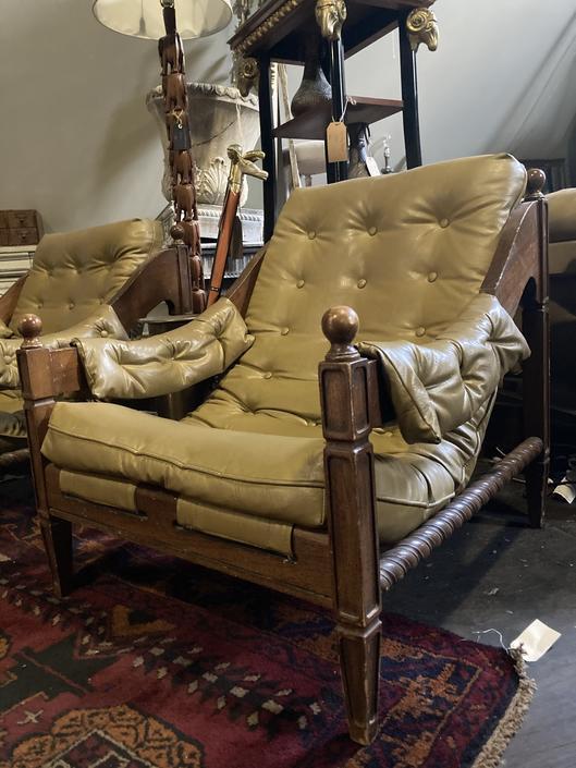 Pair Vintage Midcentury Vinyl Low Slung Chairs
