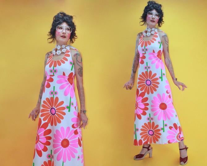 Vintage 1960s 60s MOD Flower Power Groovy Happy Daisy Blight Pop Halter Neck Hawaiian Dress/SZ S/70s 1970s Malia Tiki OP Art Waffle Cotton by TheeAppleBoutique