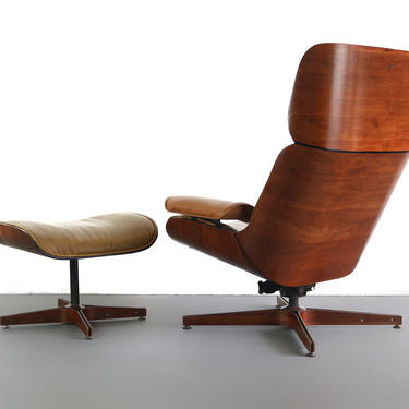 Mr. Chair Bentwood Lounge Chair & Ottoman for Plycraft by George Mulhauser, USA by ABTModern
