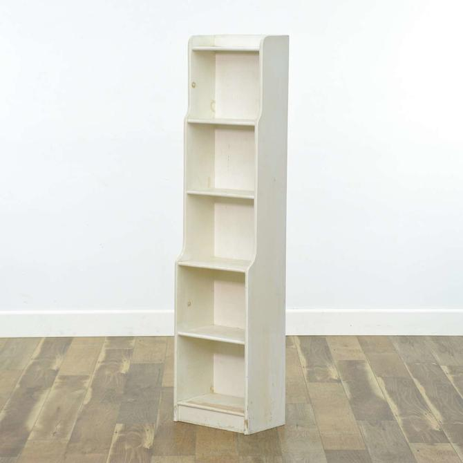 Contemporary White Narrow Bookcase