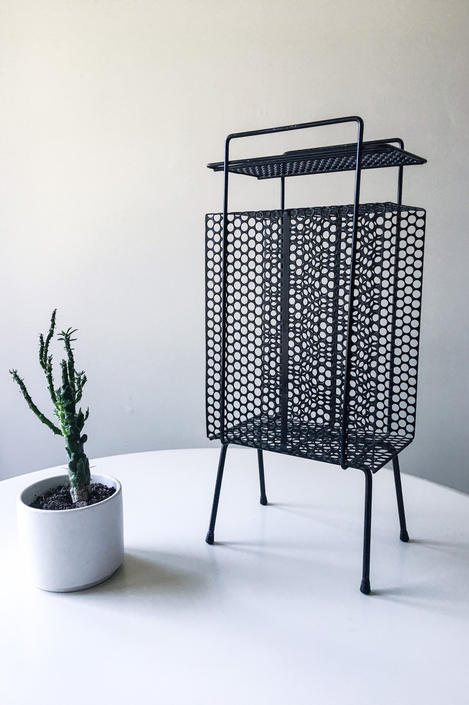 Richard Galef Wire Perforated Metal stand Catchall table Mategot Eames French Nelson Vintage Mid Century Raymor Ravenware 195 by CaribeCasualShop