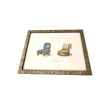 French Chair Lithograph from Le Magasin de Meubles, C 1850-1880, Framed by FunkyRelic