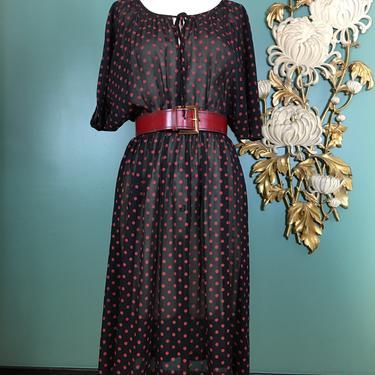 1980s blouson dress, sheer chiffon dress, vintage 80s dress, polka dot dress, black and red, medium, dolman sleeves, batwing dress, 28 waist by BlackLabelVintageWA