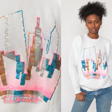 New York Sweatshirt NYC Shirt 80s Sweatshirt Neon Metallic Print Travel Slouchy Tourist City Graphic 90s Raglan Sweater Vintage Medium Large by ShopExile