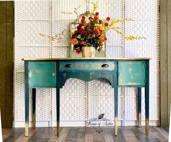Old World Finish Teal and Gold Sideboard Buffet. Credenza Server. MahoganY Blue Green Dining Room peacock Cabinet. Entryway Media Console. by HouseofAalia
