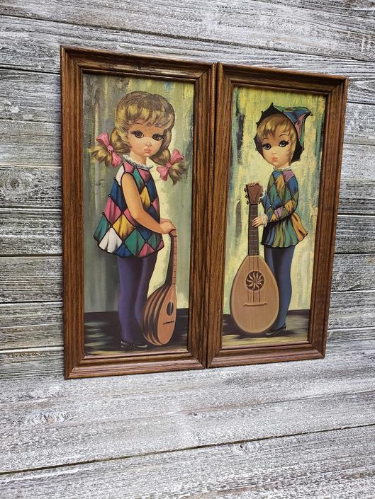 Vintage Big Eyes Wall Decor, Eden Big Eyes, Vintage 1960s Harlequin Musician, Mandolin Girl, Moppets Wall Hanging Framed Lithograph Wall Art by AGoGoVintage